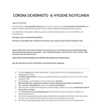 CORONA SICHERHEITS- & HYGIENE RICHTLINIEN